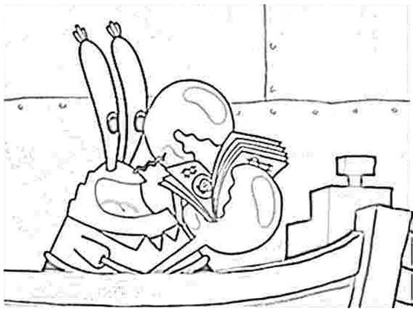 Mr Krabs Count Money in Krusty Krab Coloring Page: Mr ...