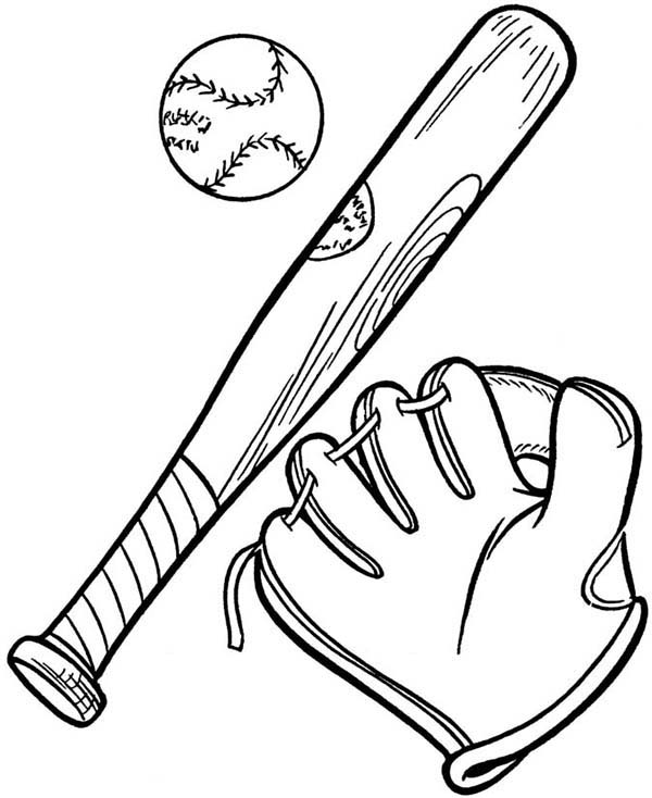 giants coloring pages baseball bat   Complete Baseball Gears in MLB Coloring Page: Complete ...