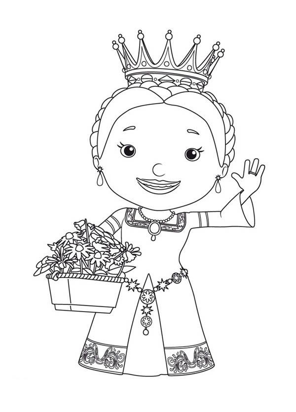 Queen Martha and Bouquet of Flower in Mike the Knight Coloring Page Color Luna