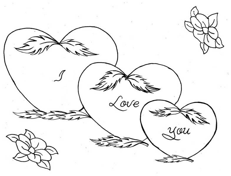 Three Hearts and Roses Coloring