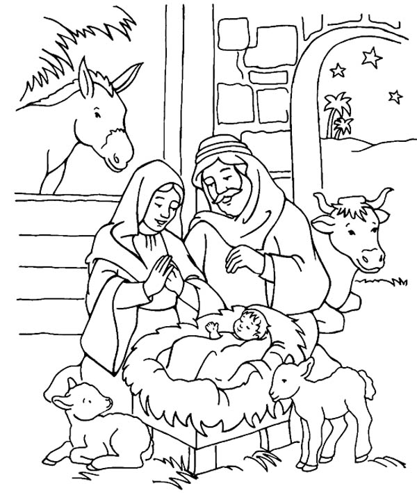 Scenery of nativity in jesus christ coloring page color luna for Coloring pages baby jesus in manger