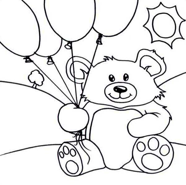 Teddy bear and balloons coloring page teddy bear and for Teddy bear printable coloring pages