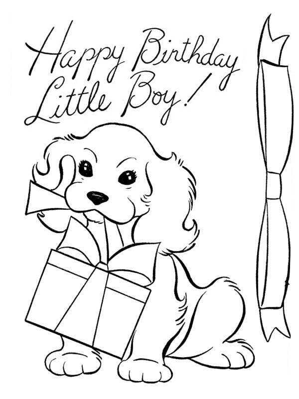 Happy Birthday, : A Dog and Happy Birthday Present Coloring Page