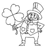 St Patricks Day, A Fat Leprechaun Holding A Big Four Leaf Clover On St Patricks Day Coloring Page: A Fat Leprechaun Holding a Big Four-Leaf Clover on St Patricks Day Coloring Page