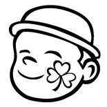 Four-Leaf Clover, A Four Leaf Clover Face Paint Coloring Page: A Four-Leaf Clover Face-Paint Coloring Page