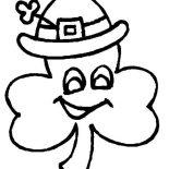 Four-Leaf Clover, A Four Leaf Clover Wearing Irish Hat Coloring Page: A Four-Leaf Clover Wearing Irish Hat Coloring Page
