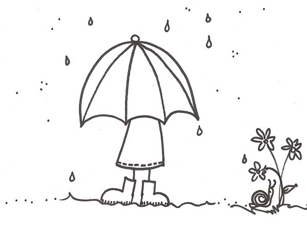 Raindrop, : A Girl with Umbrella Under Raindrop Coloring Page