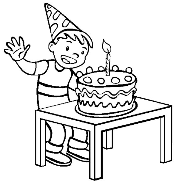 A Happy Boy With Happy Birthday Cake Coloring Page : Color ...