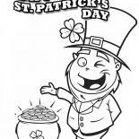 St Patricks Day, A Happy Leprechaun Found Pot Of Gold On St Patricks Day Coloring Page: A Happy Leprechaun Found Pot of Gold on St Patricks Day Coloring Page