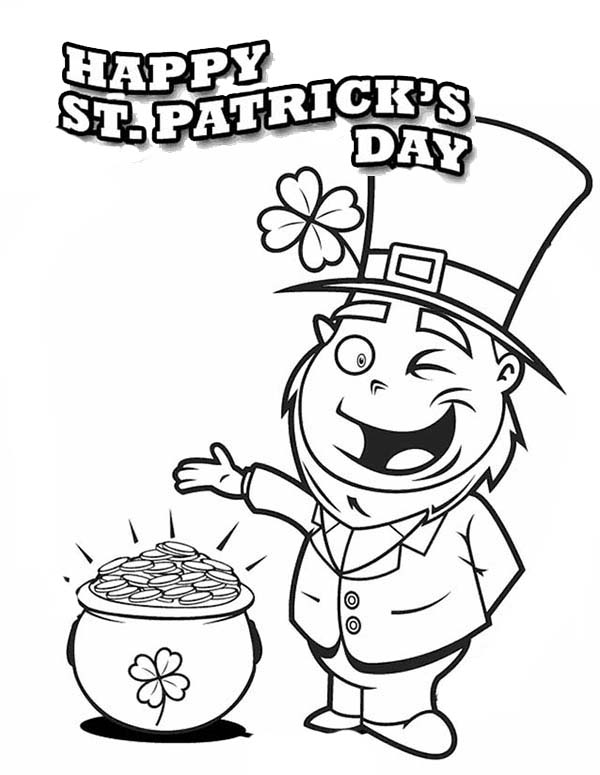 St Patricks Day, : A Happy Leprechaun Found Pot of Gold on St Patricks Day Coloring Page