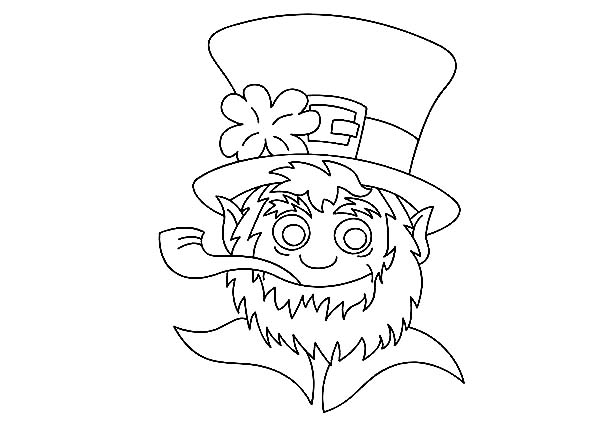 A Head Figure Of Leprechaun On St Patricks Day Coloring