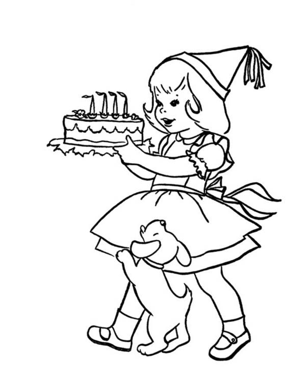 Happy Birthday, : A Little Girl Holding a Happy Birthday Cake Coloring Page