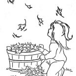 Fall Leaf, A Little Girl Watching Fall Leaf Coloring Page: A Little Girl Watching Fall Leaf Coloring Page