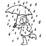 Raindrop, A Little Running With Umbrella In Raindrop Coloring Page: A Little Running with Umbrella in Raindrop Coloring Page