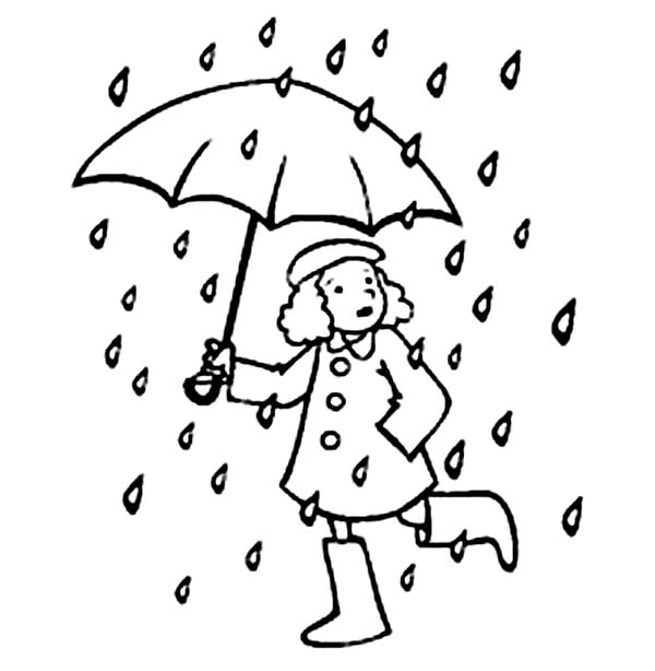 Raindrop, : A Little Running with Umbrella in Raindrop Coloring Page