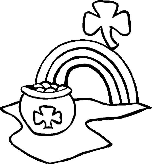 St Patricks Day, : A Pot of Gold on St Patricks Day Coloring Page