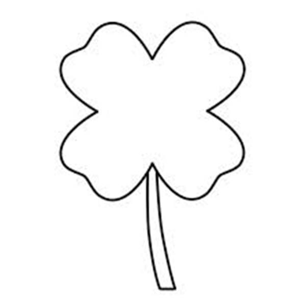 Four-Leaf Clover, : A Single Four-Leaf Clover Coloring Page
