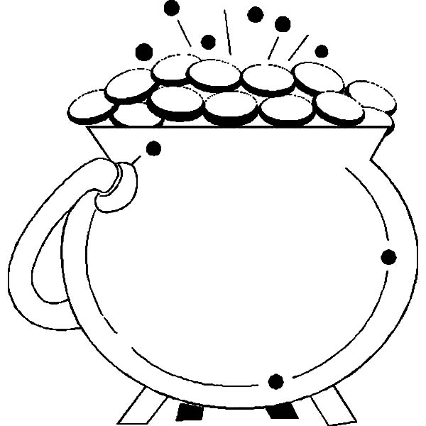 St Patricks Day, : A Sparkling Pot of Gold for St Patricks Day Coloring Page
