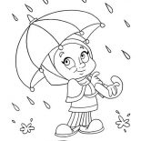 Raindrop, A Little Girl Avoiding Raindrop With Umbrella Coloring Page: A little Girl Avoiding Raindrop with Umbrella Coloring Page