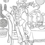 Mad Hatter, Amazing Mad Hatter And Three Hole Teapot Coloring Page: Amazing Mad Hatter and Three Hole Teapot Coloring Page
