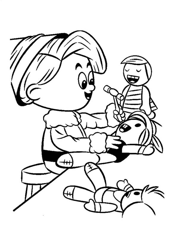 Elf, : An Elf Fixing a Doll Coloring Page