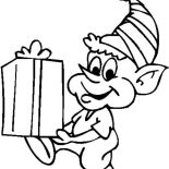 Elf, An Elf Got Present Coloring Page: An Elf Got Present Coloring Page