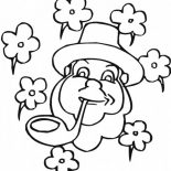 Four-Leaf Clover, An Irish Guy With Pipe And Four Leaf Clover Coloring Page: An Irish Guy with Pipe and Four-Leaf Clover Coloring Page