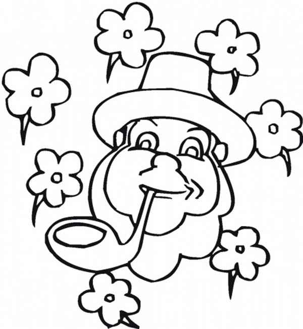 Four-Leaf Clover, : An Irish Guy with Pipe and Four-Leaf Clover Coloring Page