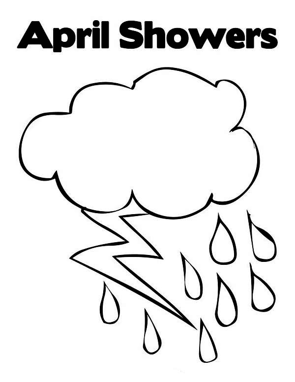 Raindrop, : April Showers in Raindrop Coloring Page