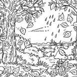 Fall Leaf, Autumn Fall Leaf In The Forest Coloring Page: Autumn Fall Leaf in the Forest Coloring Page