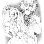 Mad Hatter, Beautiful Alice And Mad Hatter Coloring Page: Beautiful Alice and Mad Hatter Coloring Page