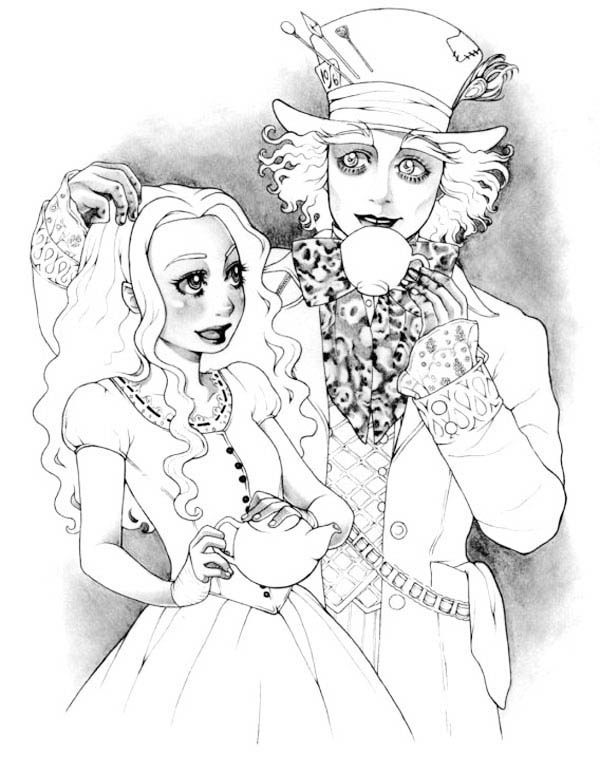Mad Hatter, : Beautiful Alice and Mad Hatter Coloring Page