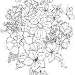 Flower Bouquet, Beautiful Flower Bouquet Coloring Page: Beautiful Flower Bouquet Coloring Page