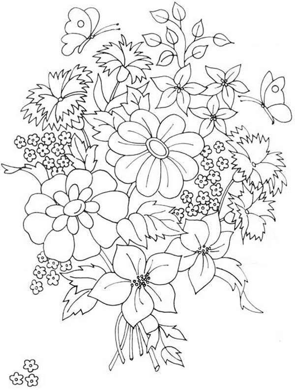 Flower Bouquet, : Beautiful Flower Bouquet Coloring Page