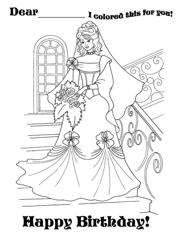 Happy Birthday, : Beautiful Princess is Having Happy Birthday Party Coloring Page