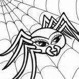 Spider, Beautiful Spider Walking On Spider Web Coloring Page: Beautiful Spider Walking on Spider Web Coloring Page