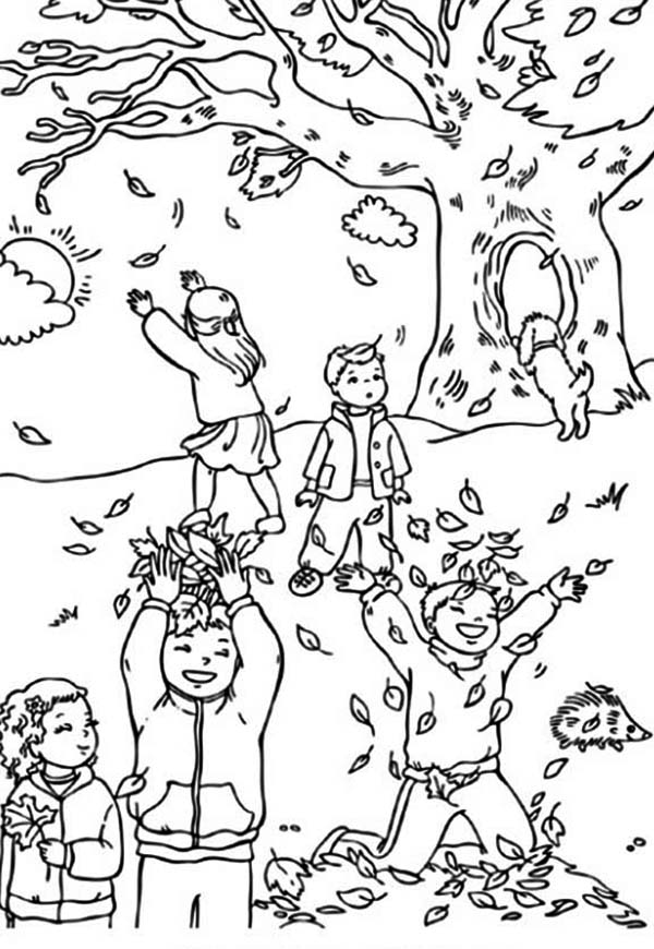 Fall Leaf, : Boys and Girls Catching Fall Leaf Coloring Page