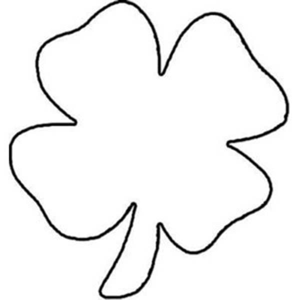 Four-Leaf Clover, : Childrens Drawing of Four-Leaf Clover Coloring Page