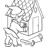 Elf, Christmas Elf Building A House Coloring Page: Christmas Elf Building a House Coloring Page