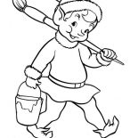 Elf, Christmas Elf With Pain And Brush Coloring Page: Christmas Elf with Pain and Brush Coloring Page