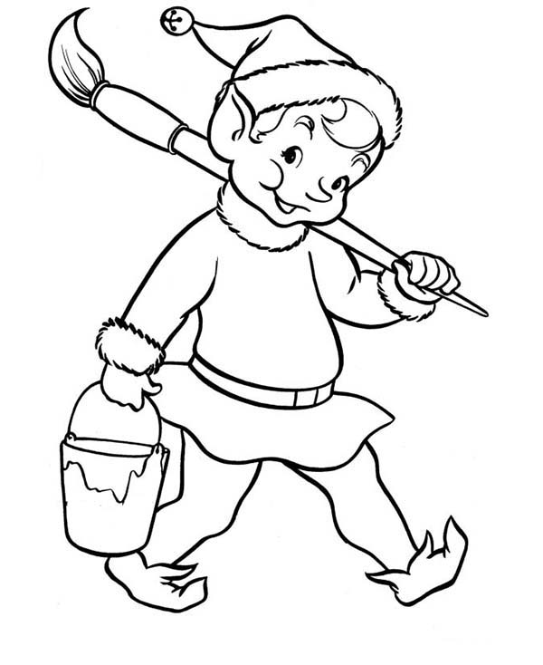 Elf, : Christmas Elf with Pain and Brush Coloring Page