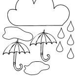 Raindrop, Cloud And Umbrella And Raindrop Coloring Page: Cloud and Umbrella and Raindrop Coloring Page