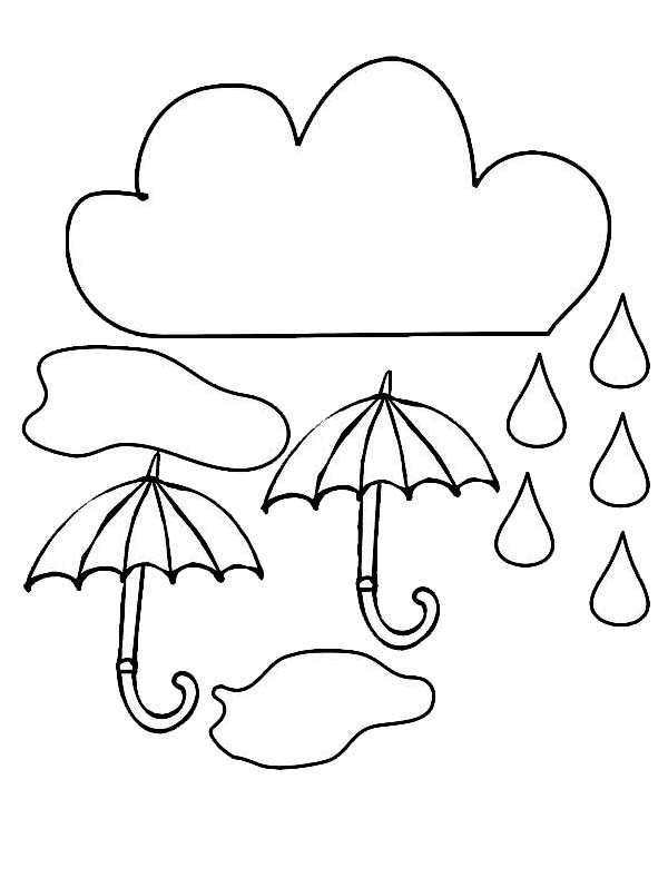 Raindrop, : Cloud and Umbrella and Raindrop Coloring Page