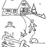 House, Country House In Houses Coloring Page: Country House in Houses Coloring Page