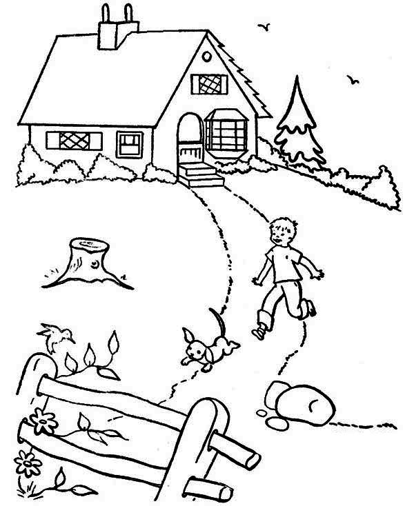 House, : Country House in Houses Coloring Page