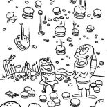 Krusty Krab, Crabby Patty Rain From Krusty Krab Coloring Page: Crabby Patty Rain from Krusty Krab Coloring Page