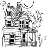 House, Creepy Haunted House In Houses Coloring Page: Creepy Haunted House in Houses Coloring Page