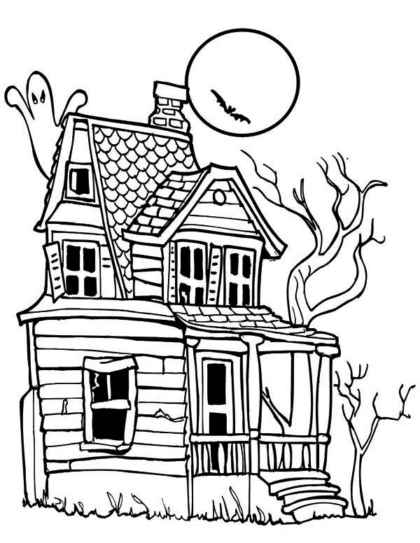 House, : Creepy Haunted House in Houses Coloring Page
