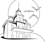 House, Creepy Haunted Houses Coloring Page: Creepy Haunted Houses Coloring Page
