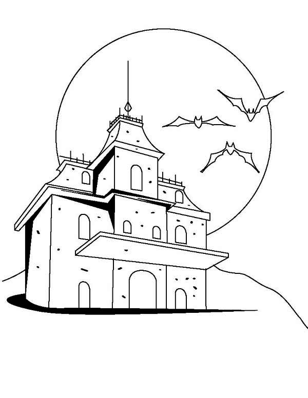 House, : Creepy Haunted Houses Coloring Page